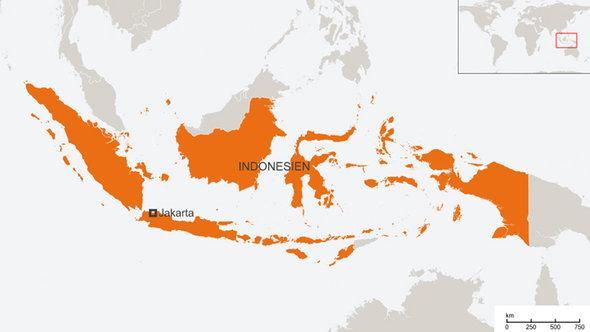 Karte Indonesiens; Foto: DW