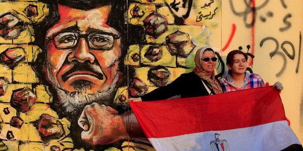Anti-Mursi-Graffity in Kairo; Foto: AP