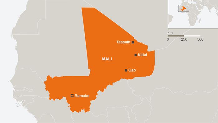 Karte Malis mit der Hauptstadt Bamako; Bild: DW