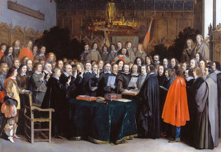 Der Westfälische Friede zu Münster am 15. Mai 1648; Zeichnung von Hendrik ter Borch; Quelle: Wikipedia