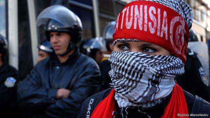 Demonstration von studentischen Aktivisten in Tunis; Foto: Picture Alliance