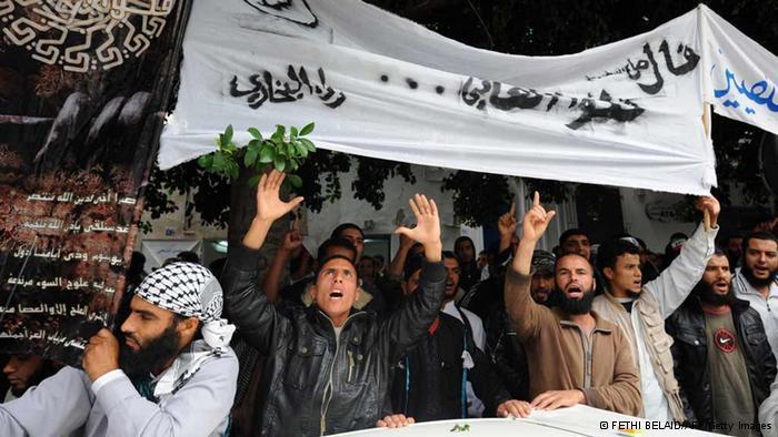 Demonstration der extremistischen Ansar Al-Scharia in Tunis; Foto: Getty Images