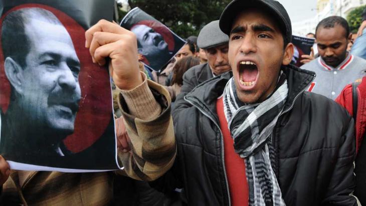 Proteste nach der Ermordung Chokri Belaids in Tunis; Foto: AFP/Getty Images