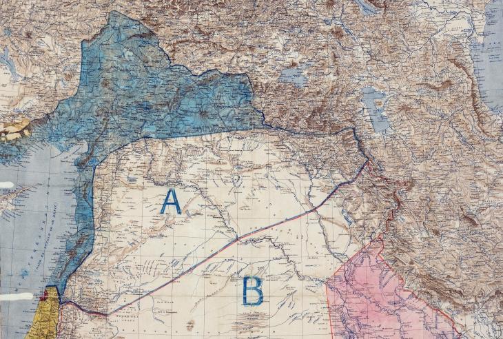 Karte des regionalen Geltungsbereichs für das Sykes-Picot-Abkommen mit dem heutigen Syrien, Irak und der Türkei; Quelle: The National Archives, UK – public domain