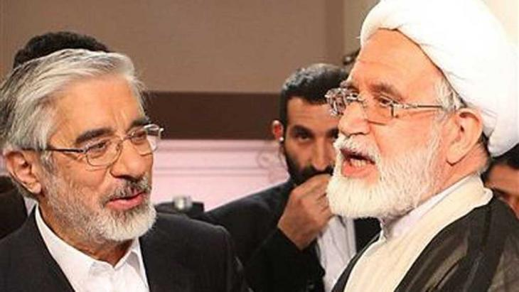 Die beiden Oppositionsführer Mir Hossein Mussawi (l.) und Mehdi Karrubi; Foto: Kalameh
