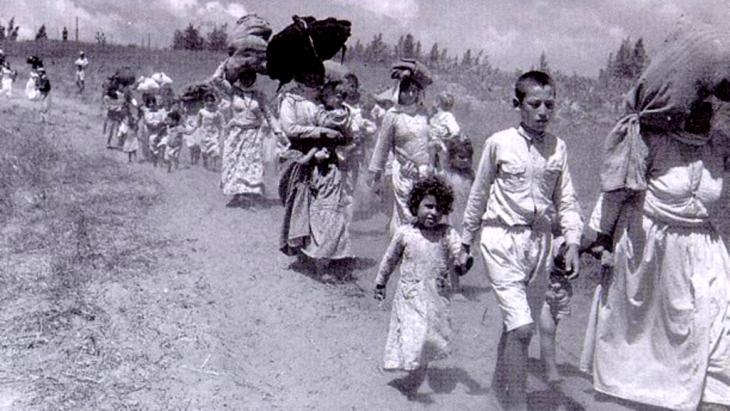 Palästinenser auf der Flucht vor den israelischen Streitkräften 1948; Quelle: Wikipedia