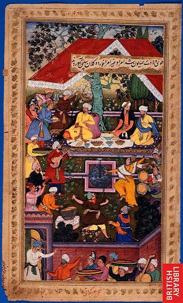 Babur feiert die Geburt Humayuns im Chahar Bagh von Kabul, Illustration aus dem Baburnama (Quelle: British Library/Wikipedia/Creative Commons)