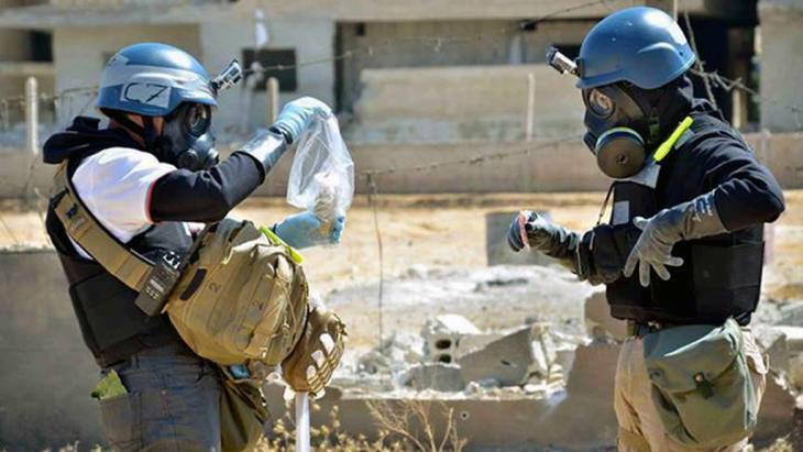 UN-Waffeninspekteure in Ain Terma bei Damaskus; Foto: AP
