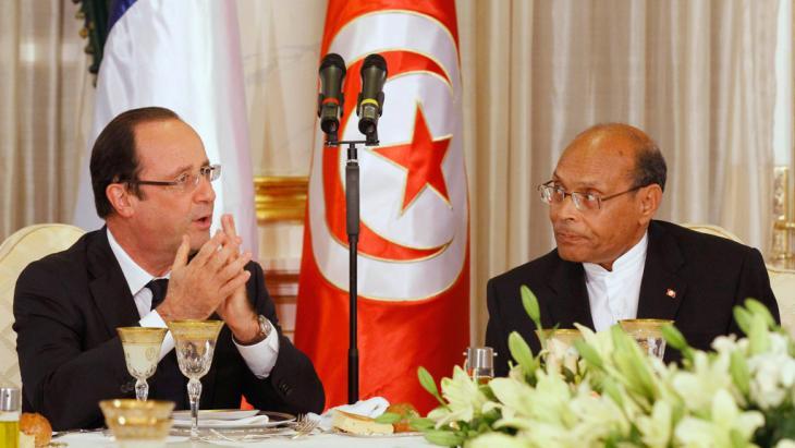 Frankreichs Präsident Francois Hollande und der tunesische Präsident Moncef Marzouki (r.) im Carthage Palace in Tunis, Foto: Reuters