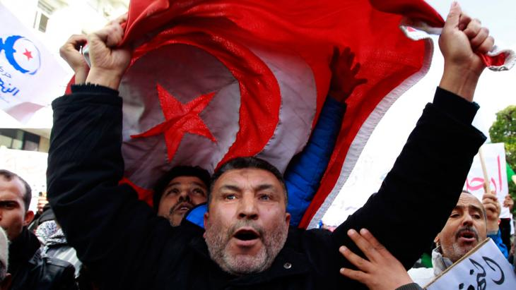 Ennahda supporters protesting in Tunis (photo: Reuters)
