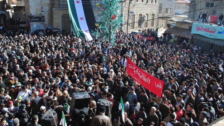 Demonstration gegen Assad-Regime in Zabadani; Foto: AP