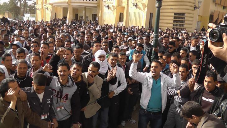Kundgebung von arbeitslosen Jugendlichen im algerischen Ouargla; Foto: Saiza Souci