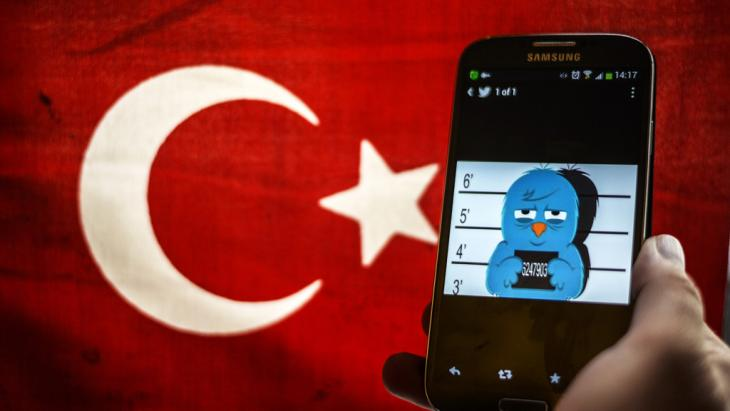 A picture representing a mug shot of the blue Twitter bird seen on a smartphone display in front of a Turkish flag on 26 March 2014 in Istanbul (photo: Ozan Kose/AFP/Getty Images)