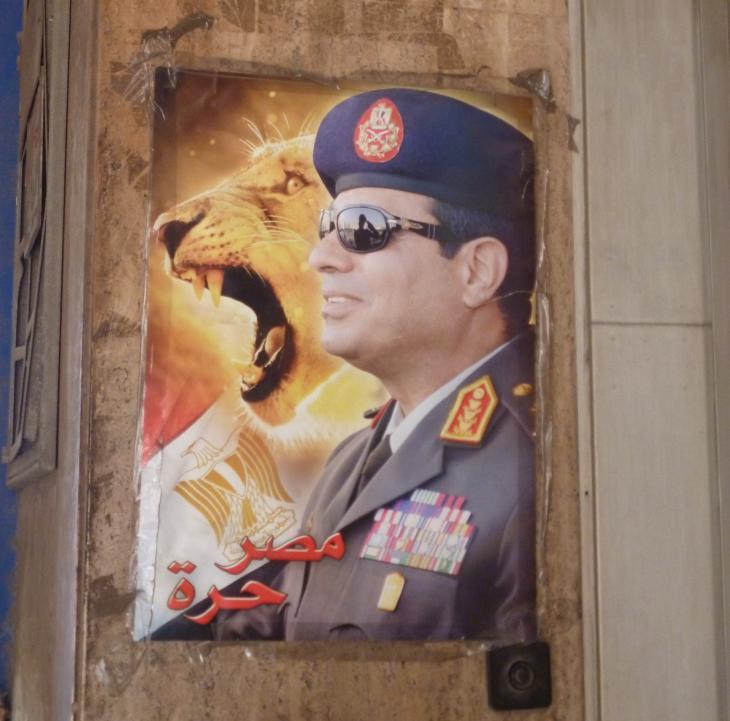 A poster depicting Abdul Fattah al-Sisi alongside a lion (photo: Arian Fariborz)