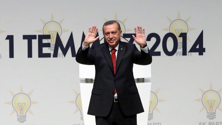 Der türkische Ministerpräsident Recep Tayyip Erdoğan während einer AKP-Veranstaltung in Ankara; Foto. picture-alliance/dpa