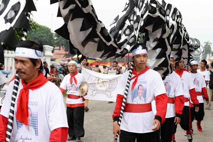 Anhänger des Präsidentschaftskandidaten Jokowi bei einer Wahlkampfveranstaltung; Foto: Eleonore Schramm