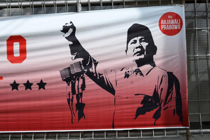 Wahlplakat des Präsidentschaftskandidaten Prabowo Subianto; Foto: Eleonora Schramm