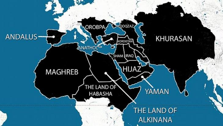 Map of Europe, Africa and the Middle East as ISIS is alleged to see it. Photo: DW