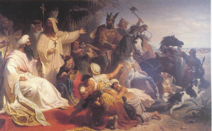 Gemälde von Julius Köckert, dass den Kalifen Harun ar-Raschid beim Empfang einer Delegation von Karl dem Großen zeigt; Foto: WIkimedia Commons