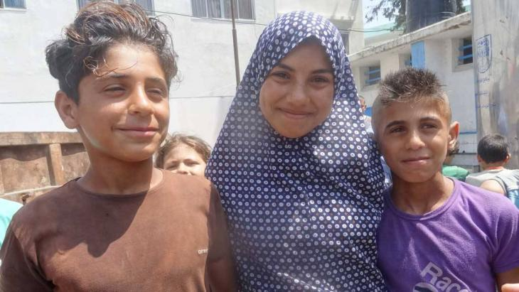 Kinder in einer UNRWA-Schule; Foto: DW/Bettina Marx