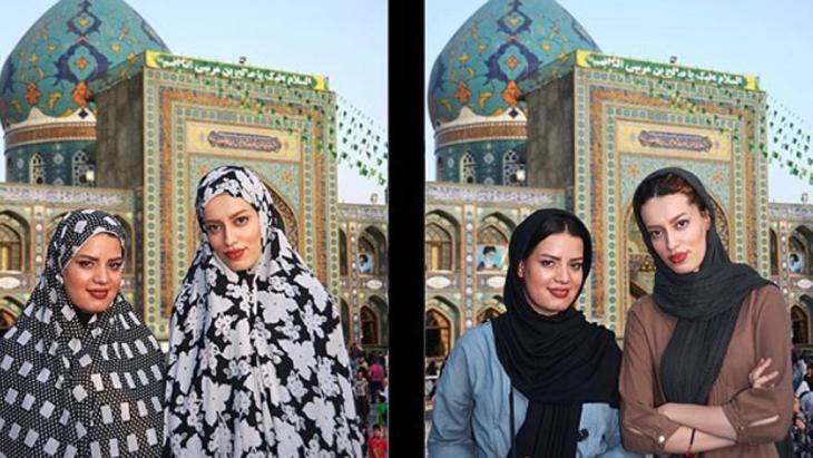 Fotomontage junge Frauen an religiösen Orten im Iran; Foto: Mehr