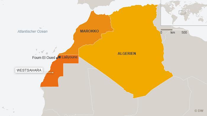 Karte Westsaharas und der angrenzenden Maghrebstaaten; Foto: DW