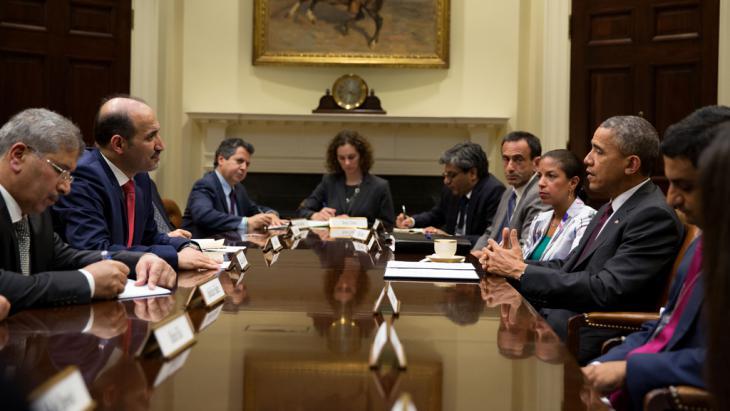 Syriens Oppositionsführer Ahmad al-Jabar und U.S. Präsident Barack Obama am 13. Mai 2014 in Washington; Foto: Picture-alliance/AA