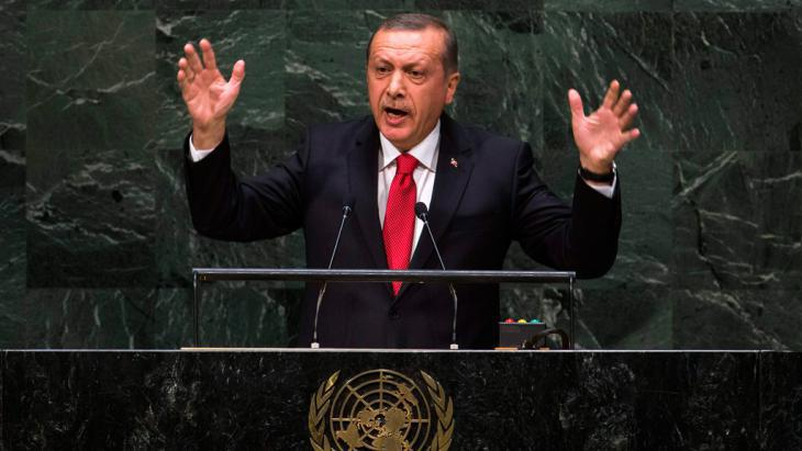 Erdogan am 24. September 2014 bei seiner Rede vor der UN-Generalversammlung; Foto: Reuters/Lucas Jackson