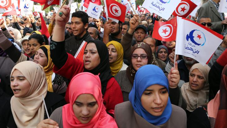 Ennahda-Anhänger am 20. März 2014 in Tunis; Foto: picture-alliance/dpa
