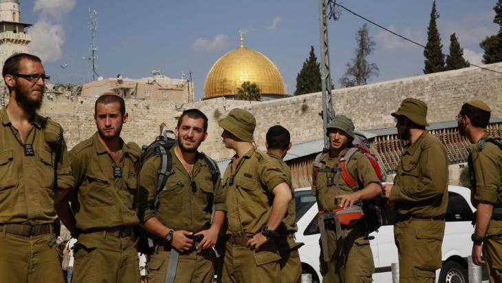 Absperrung des Tempelbergs durch israelische Sicherheitskräfte; Foto: GALI TIBBON/AFP/Getty Images