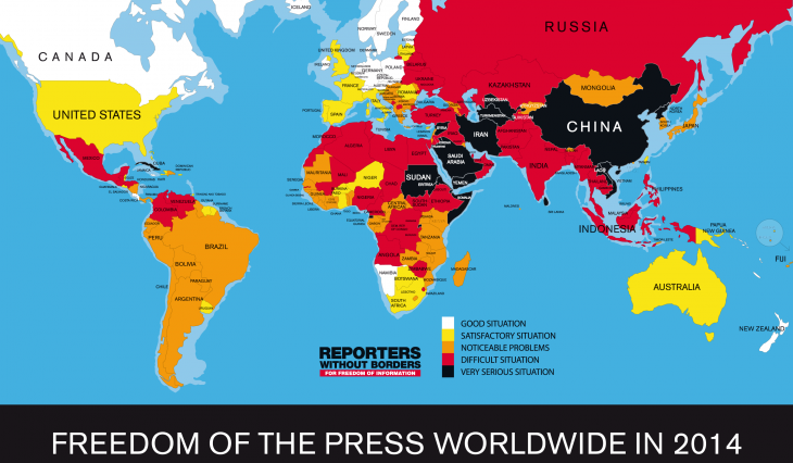 """""""Reporter ohne Grenzen""""-Rangliste der Pressefreiheit 2014; Quelle: Reporter ohne Grenzen"""