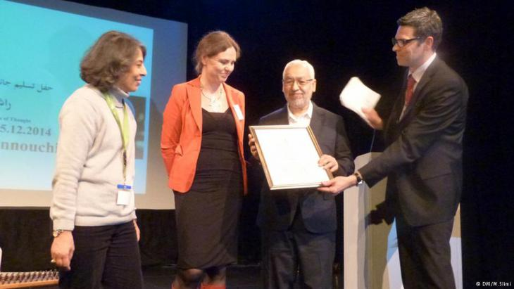 Rachid Ghannouchi während der Verleihung des Ibn Rushd Preises 2014; Foto: Ibn Rushd Stiftung