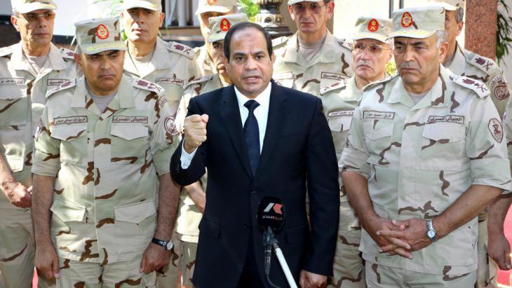 Ansprache Präsident Abdel Fattah al-Sisis vor Generälen am 25.10.2014 in Kairo; Foto: Reuters/The Egyptian Presidency