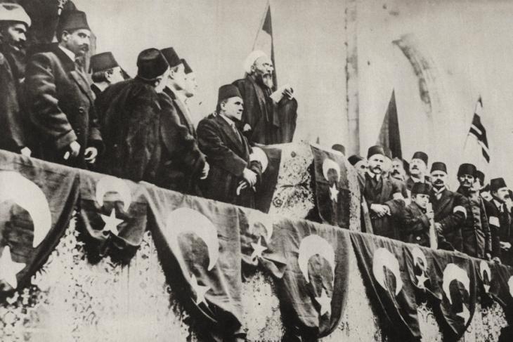 """Nach dem offiziellen Kriegseintritt des Osmanischen Reichs ruft der Scheich ul-Islam von Konstantinopel am 14. November 1914 den """"Heiligen Krieg"""" aus; Foto: picture-alliance"""