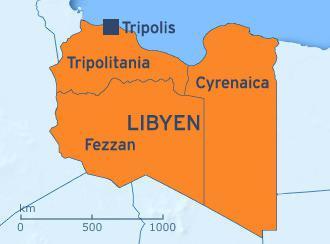 Libyens Provinzen Tripolitania, Cyrenaica, Fezzan; Quelle: DW