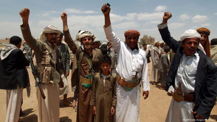 Huthi-Rebellen vor Sanaa; Foto: AFP