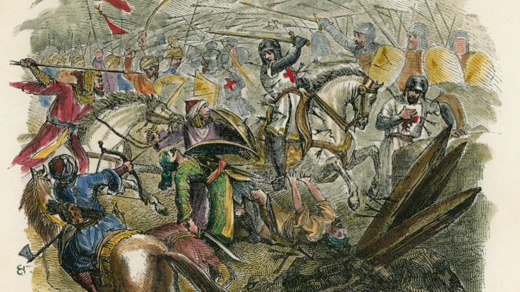 Französische Kreuzritter während eines Angriffs auf dem Ersten Kreuzzug im heiligen Land, Darstellung von Pierre-R. d'Hautpoul; Foto: picture-alliance/AKG