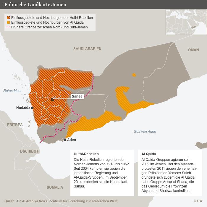 Infografik Politische Karte Jemens; Quelle: DW