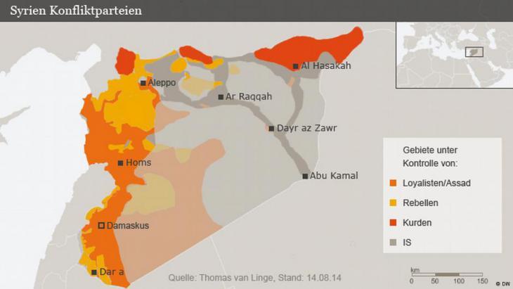 Konfliktparteien im syrischen Bürgerkrieg; Foto: DW
