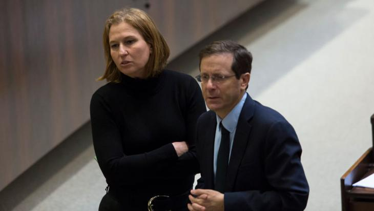 Isaac Herzog (rechts) undTzipi Livni von der Labor Party. Foto: EPA/Jim Hollander