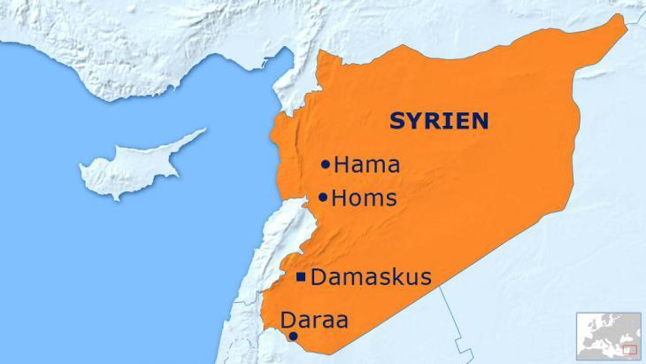 Karte Syriens mit der südlichen Provinzstadt Daraa; Foto: DW