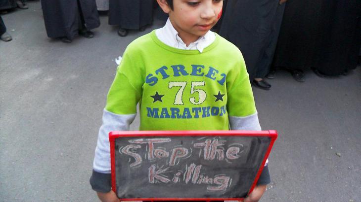 Kind in Daraa während einer Kundgebung gegen das Assad-Regime; Foto: Reuters