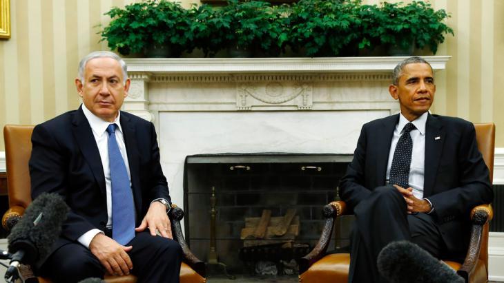 Benjamin Netanjahu während eines Staatsbesuchs bei US-Präsident Barack Obama im Weißen Haus; Foto: REUTERS/Kevin Lamarque