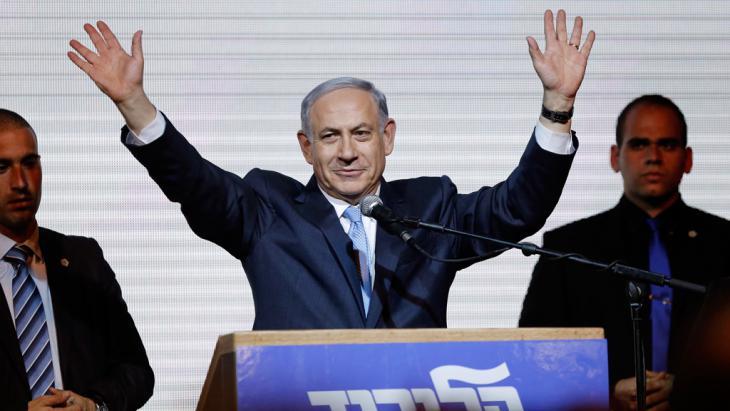Israels Ministerpräsident Benjamin Netanjahu bei einer Wahlveranstaltung in Tel Aviv am 18.013.2015; Foto: REUTERS/Amir Cohen