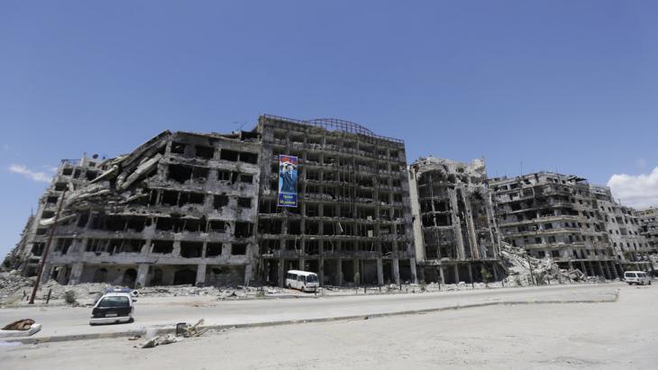 Zerstörte Häuserfassade im zentralsyrischen Homs; Foto: AFP/Getty Images