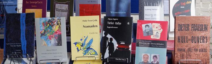 Bücher des Free Pen Verlag in Bonn; Foto: Jürgen Eis