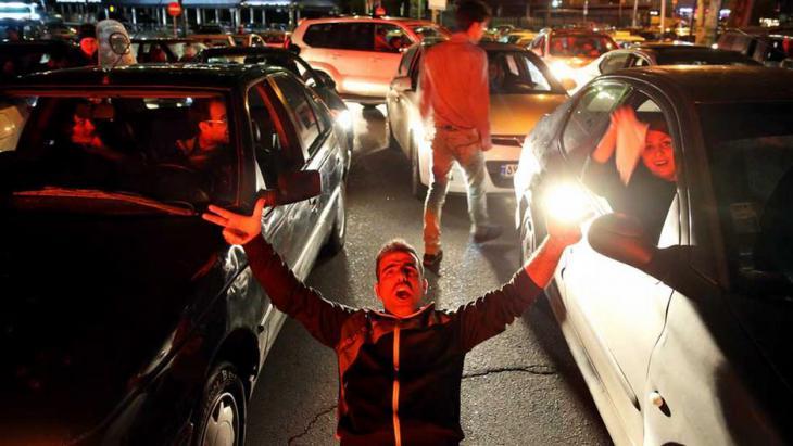 Jubel in den Straßen Teherans nach der Einigung von Lausanne; Foto: Reuters