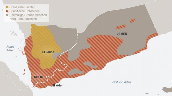 Grafik der konfessionellen Gruppen im Jemen; Quelle: DW