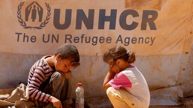 Syrische Flüchtlingskinder im Camp Zaatari, Jordanien; Foto: picture-alliance/dpa