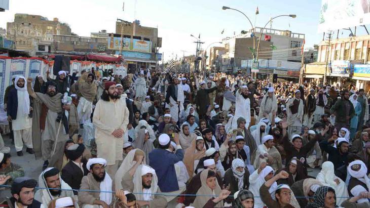 Protest gegen Überwachung von Geistlichen in Pakistan; Foto: DW/A.G.Kakar